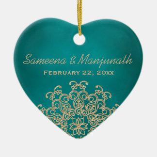 Favor de banquete de boda indio del estilo del adorno navideño de cerámica en forma de corazón