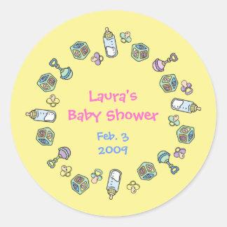 Favor de fiesta de fiesta de bienvenida al bebé de pegatina redonda