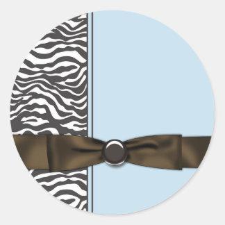 Favor de fiesta de la cebra de Brown de azules cie Etiquetas