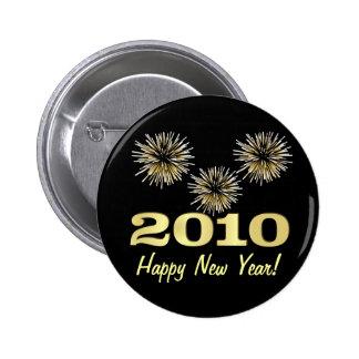 Favor de fiesta de la Feliz Año Nuevo 2010 - botón Pin Redondo De 2 Pulgadas