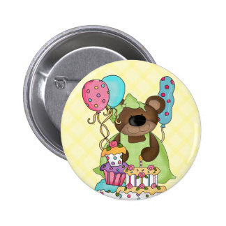 Favor de fiesta lindo del oso de peluche pin redondo de 2 pulgadas