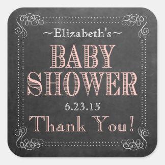 Favor de la ducha del Mirada-Bebé de la pizarra Calcomanías Cuadradass Personalizadas