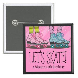 Favor de la fiesta de cumpleaños del patinaje sobr pin cuadrado