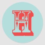 Favor de la inicial del monograma del estilo del etiquetas redondas