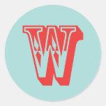 Favor de la inicial del monograma del estilo del pegatinas redondas