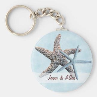 Favor de las estrellas de mar con nombres llavero redondo tipo pin