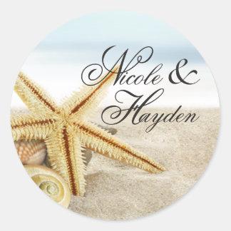 Favor de los Seashells de las estrellas de mar de Pegatina Redonda
