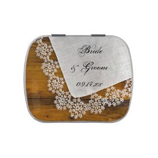 Favor de madera del boda del cordón y del granero jarrones de dulces