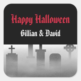 Favor de niebla del feliz Halloween de la piedra s Pegatina Cuadradas Personalizada