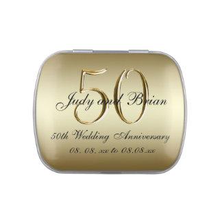 Favor del aniversario de boda del negro 50.o del frascos de caramelos
