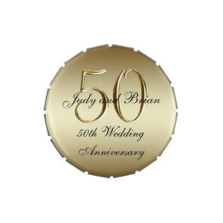 Favor del aniversario de boda del negro 50.o del latas de dulces