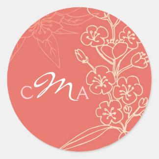 Favor del boda de Botanica (coral)/sello del sobre Pegatina Redonda