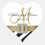 Favor del boda de la inicial de la cinta del oro d calcomanía de corazón personalizadas