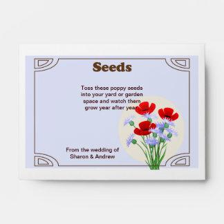 Favor del boda del paquete de la semilla de amapol sobres
