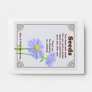 Favor del boda del paquete de la semilla del aster sobres