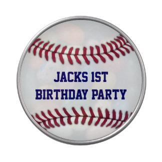 Favor del fiesta personalizado béisbol del muchach latas de caramelos