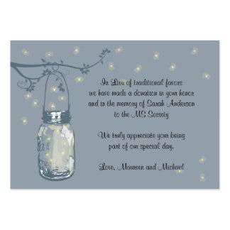 Favor Donation Card Fireflies & Mason Jar Large Business Cards (Pack Of 100)