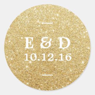 Favor elegante del boda del brillo moderno del oro pegatina redonda
