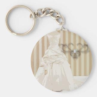 Favor elegante del boda del vestido de boda llavero redondo tipo pin