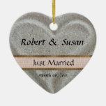 Favor en forma de corazón del boda de la arena de  ornaments para arbol de navidad