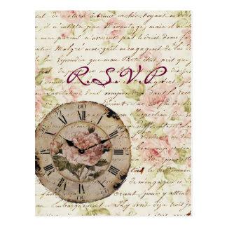 Favor floral color de rosa rosado del boda del postal