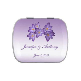 Favor floral del boda de la primavera púrpura frascos de dulces