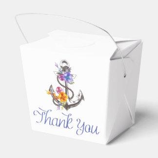 Favor floral del boda del ancla náutica de la nave cajas para detalles de boda