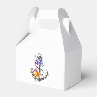 Favor floral del boda del ancla náutica de la nave cajas para regalos de boda
