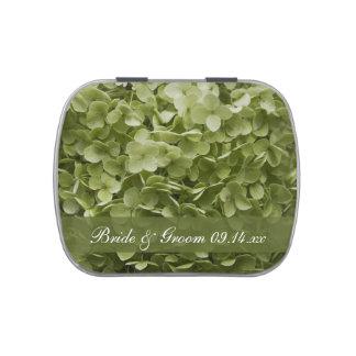 Favor floral del boda del Hydrangea verde de Frascos De Caramelos