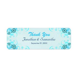 Favor floral del boda del trullo azul ligero de la etiqueta de remite