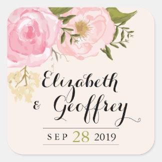 Favor floral del personalizado del boda del rosa pegatina cuadrada