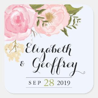 Favor floral del personalizado del boda del rosa pegatinas cuadradases