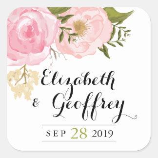 Favor floral del personalizado del boda del rosa colcomanias cuadradas personalizadas