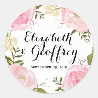 Favor floral del personalizado del boda del rosa pegatina redonda