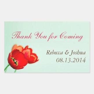 Favor floral rojo del boda de la menta del tulipán rectangular pegatinas