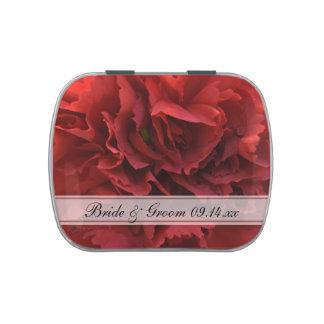 Favor floral rojo del boda frascos de dulces