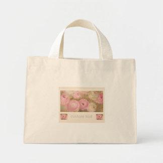 Favor floral rosado pintado a mano del boda bolsa de tela pequeña