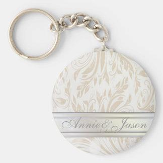 Favor formal del boda del damasco de Pearl White Llavero Redondo Tipo Pin