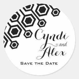 Favor geométrico diagonal el del boda negro y bl etiqueta redonda
