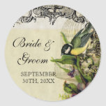 Favor Gift Seals Tags Yellow Song Bird Cage Floral Classic Round Sticker