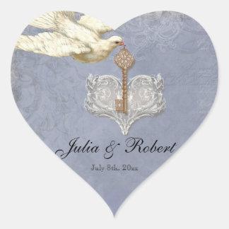 Favor Gift Sticker - Key to my Heart, Doves Swirl