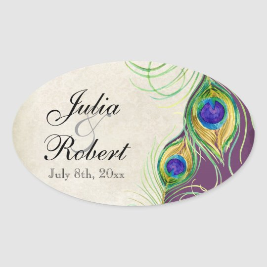 Favor Gift Sticker - Peacock Feathers Wedding Seal