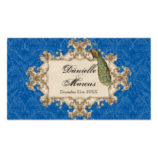 Favor Gift Tags - Blue Vintage Peacock & Etchings Double-Sided Standard Business Cards (Pack Of 100)