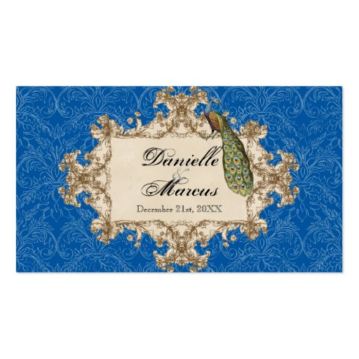 Favor Gift Tags - Blue Vintage Peacock & Etchings Business Card