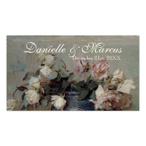 Favor Gift Tags  - Impressionist Cream Pink Roses Business Card Templates