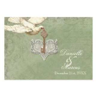 Favor Gift Tags - Key to my Heart, Doves Swirl Large Business Card
