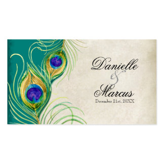 Favor Gift Tags - Peacock Feathers Wedding Set Double-Sided Standard Business Cards (Pack Of 100)