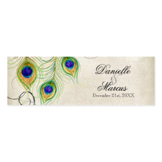 Favor Gift Tags - Peacock Feathers Wedding Set Mini Business Card