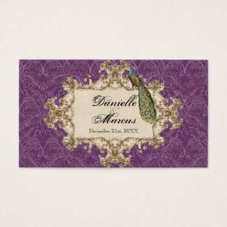 Favor Gift Tags, Purple Vintage Peacock & Etchings Business Card