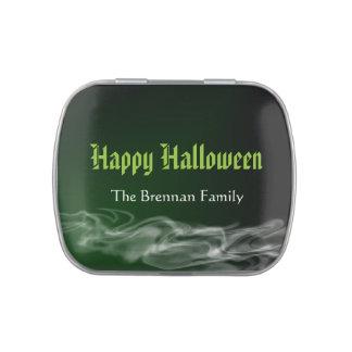Favor gótico del feliz Halloween del humo verde tr Latas De Caramelos